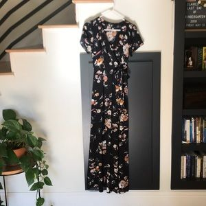 Dresses & Skirts - Black floral faux wrap maxi